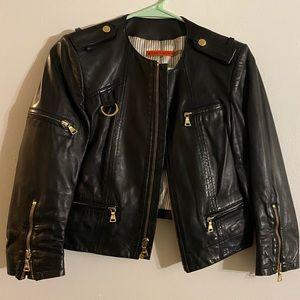 Alice + Olivia Cam Leather Cropped jacket